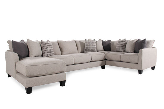 """Three-Piece Contemporary 159"""" Sectional in Nutmeg Brown"""
