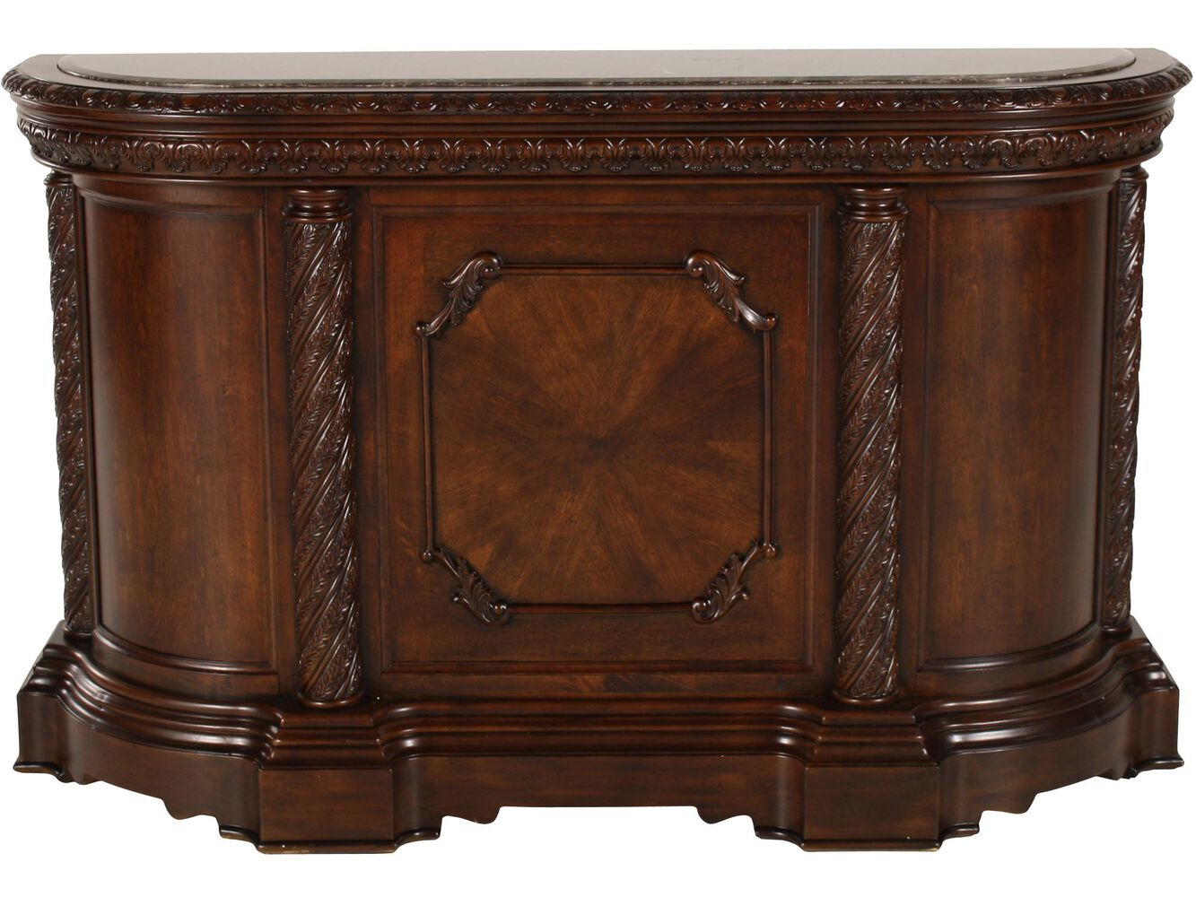 Traditional 42 Bar With Pilastered Columns In Dark Brown Mathis Brothers Furniture