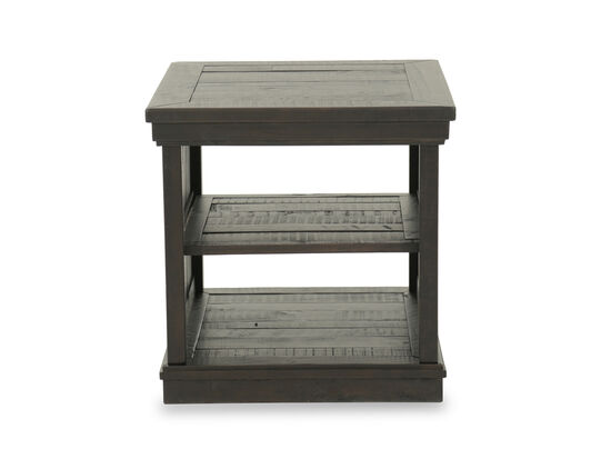 Casual Planked Two-Shelf End Table in Dark Brown
