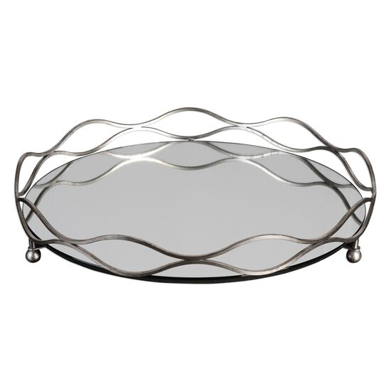 Wavy Accent Mirrored Tray in Silver Leaf