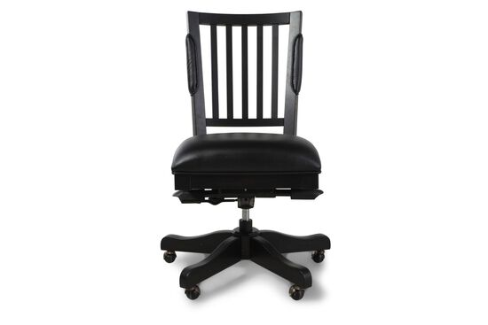 Leather Slat Back Office Chairin Black