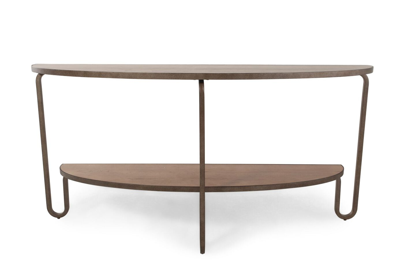 Demilune Shaped Transitional Console Table In Light Brown Mathis  ~ Transitional Sofa Tables