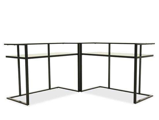 """48"""" Multi-Tier Contemporary Corner Desk in Black"""