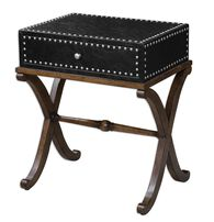 Nailhead-Trimmed Accent Table in Black