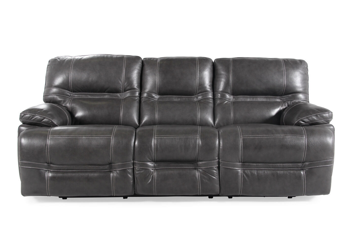 89 power reclining sofa in pewter mathis brothers furniture for Mathis brothers living room furniture