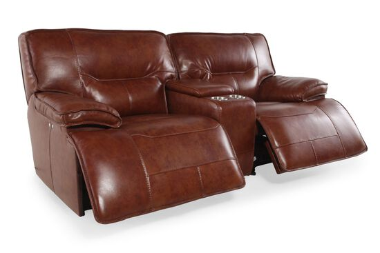 "Power Reclining Leather 85"" Loveseat in Medium Brown"