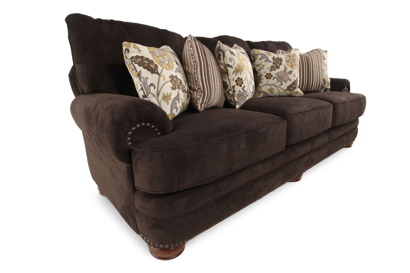 nailhead accented 103 rolled arm sofa in chocolate mathis brothers furniture. Black Bedroom Furniture Sets. Home Design Ideas