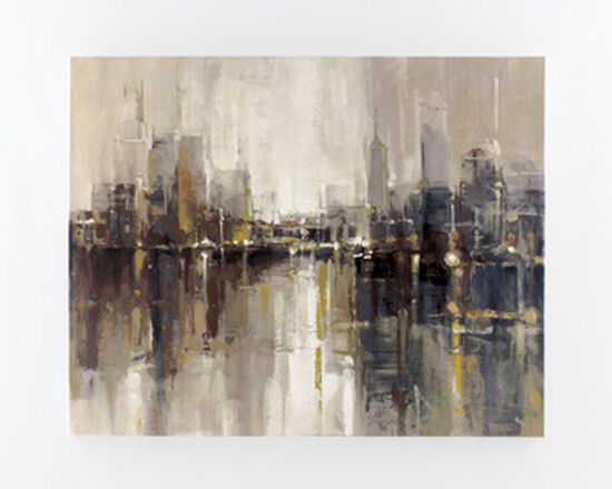 Contemporary Abstract Cityscape Canvas Wall Art in Brown/Gray