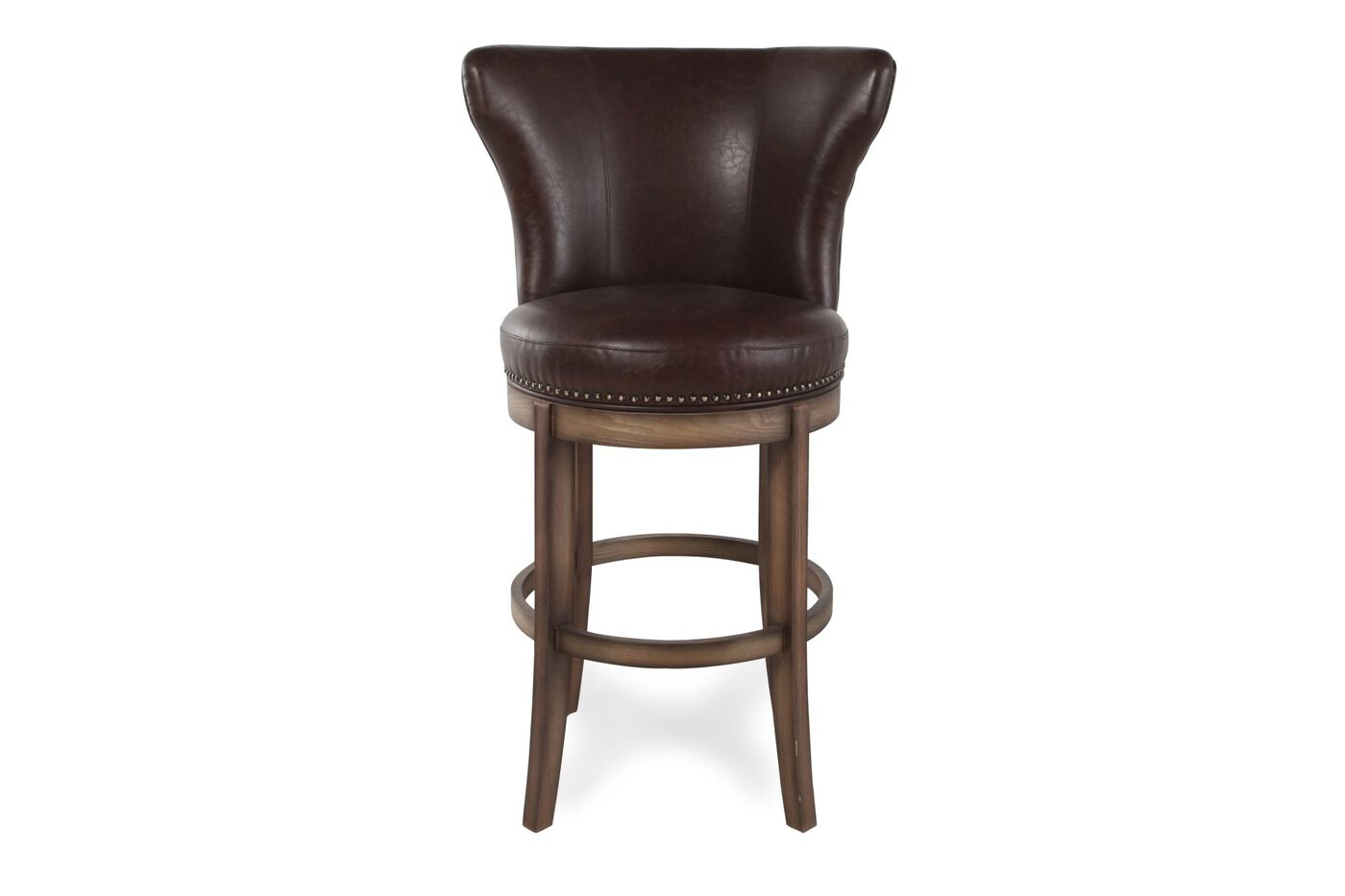 Nailhead Accented 44quot Swivel Bar Stool in Chestnut  : BLVD Y629B047DU6017K from www.mathisbrothers.com size 1400 x 933 jpeg 37kB