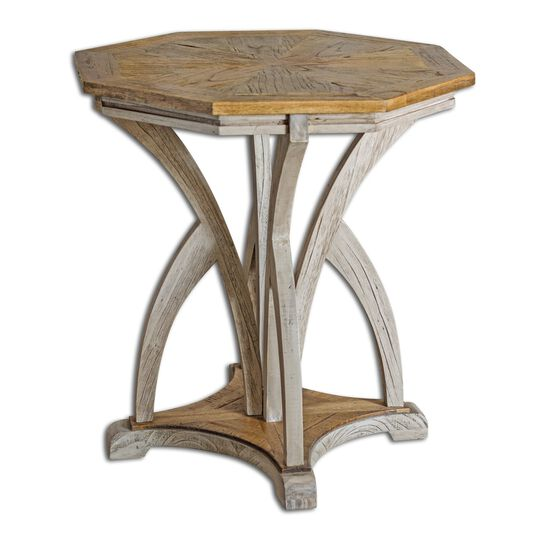 Octagonal Accent Table in Aged White