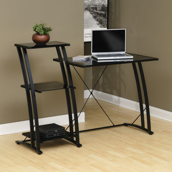 "48"" Glass-Shelf Transitional Tiered Desk in Black"