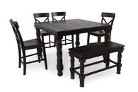 "Six-Piece 36"" Pub Set with Butterfly Leaf in Espresso Merlot"
