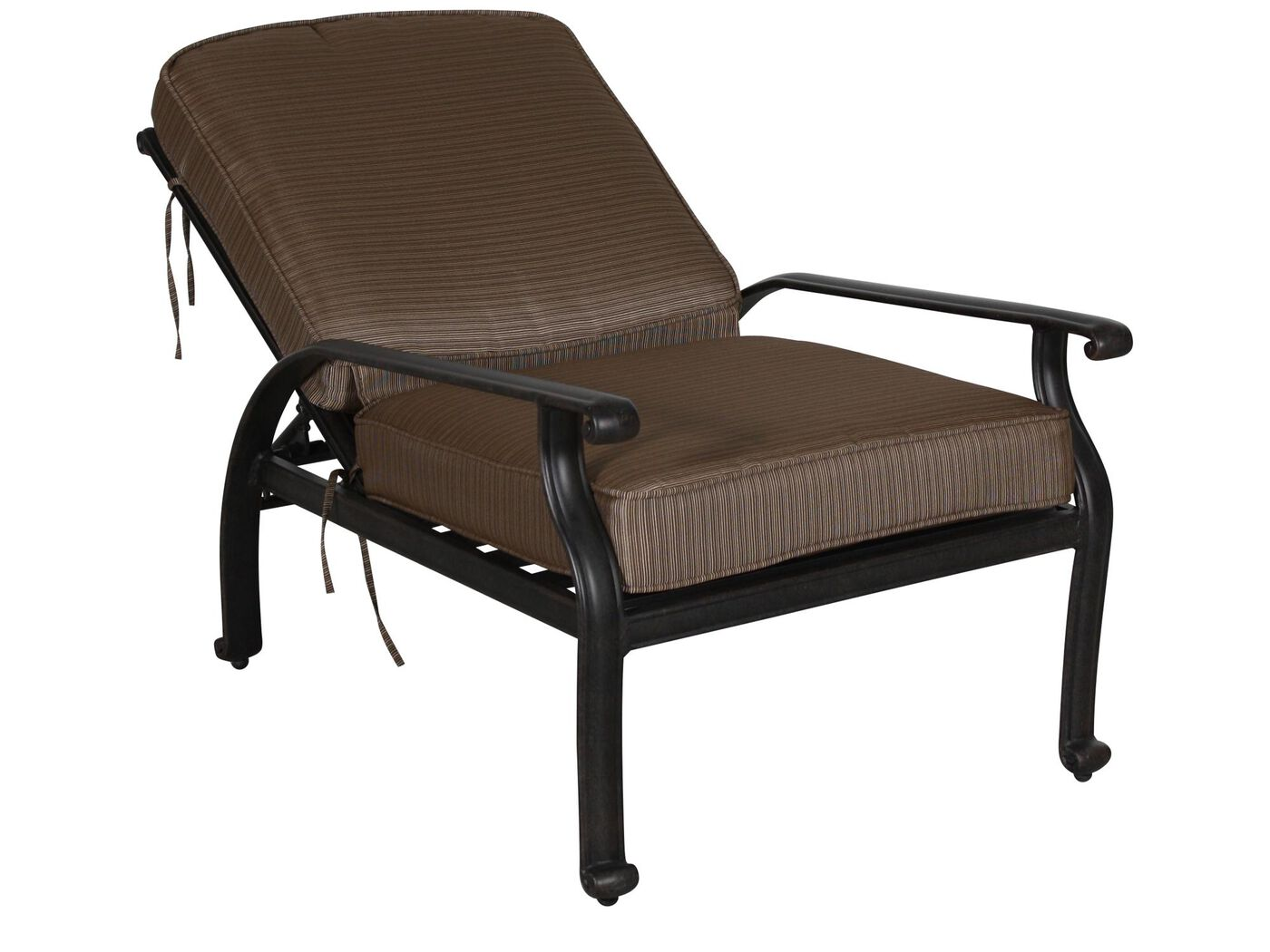 Striped Aluminum Reclining Club Chair in Brown