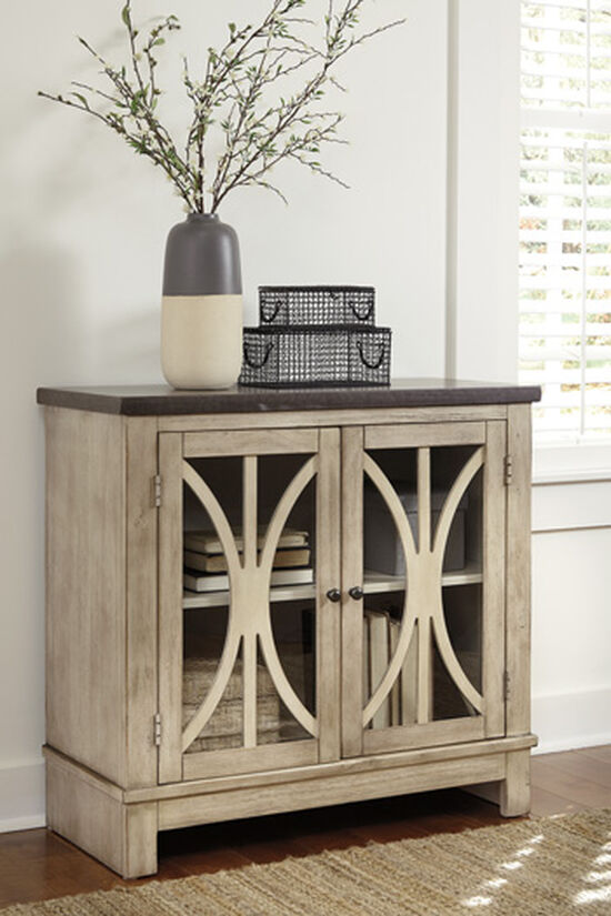 32'' Curved Doors Casual Accent Cabinet in Brown