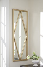"48"" Contemporary Diamond Grid Accent Mirror in Matte Gold"