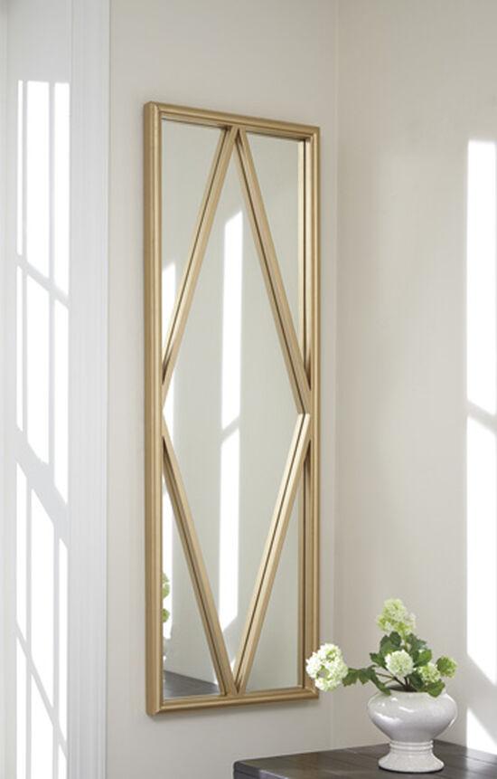 """48"""" Contemporary Diamond Grid Accent Mirror in Matte Gold"""