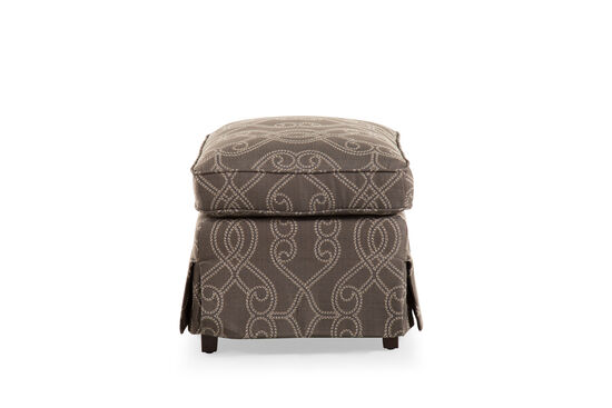 """Patterned Traditional 24"""" Ottoman in Gray"""