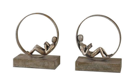 Two-Piece Reader Bookends in Silver Leaf
