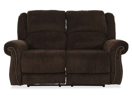 """Textured Contemporary 66"""" Power Loveseat in Brown"""