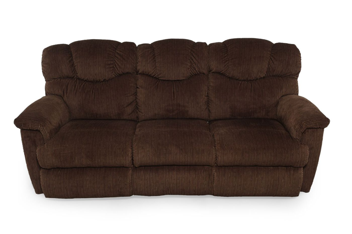 Power reclining corduroy sofa in dark brown mathis for Brown corduroy couch