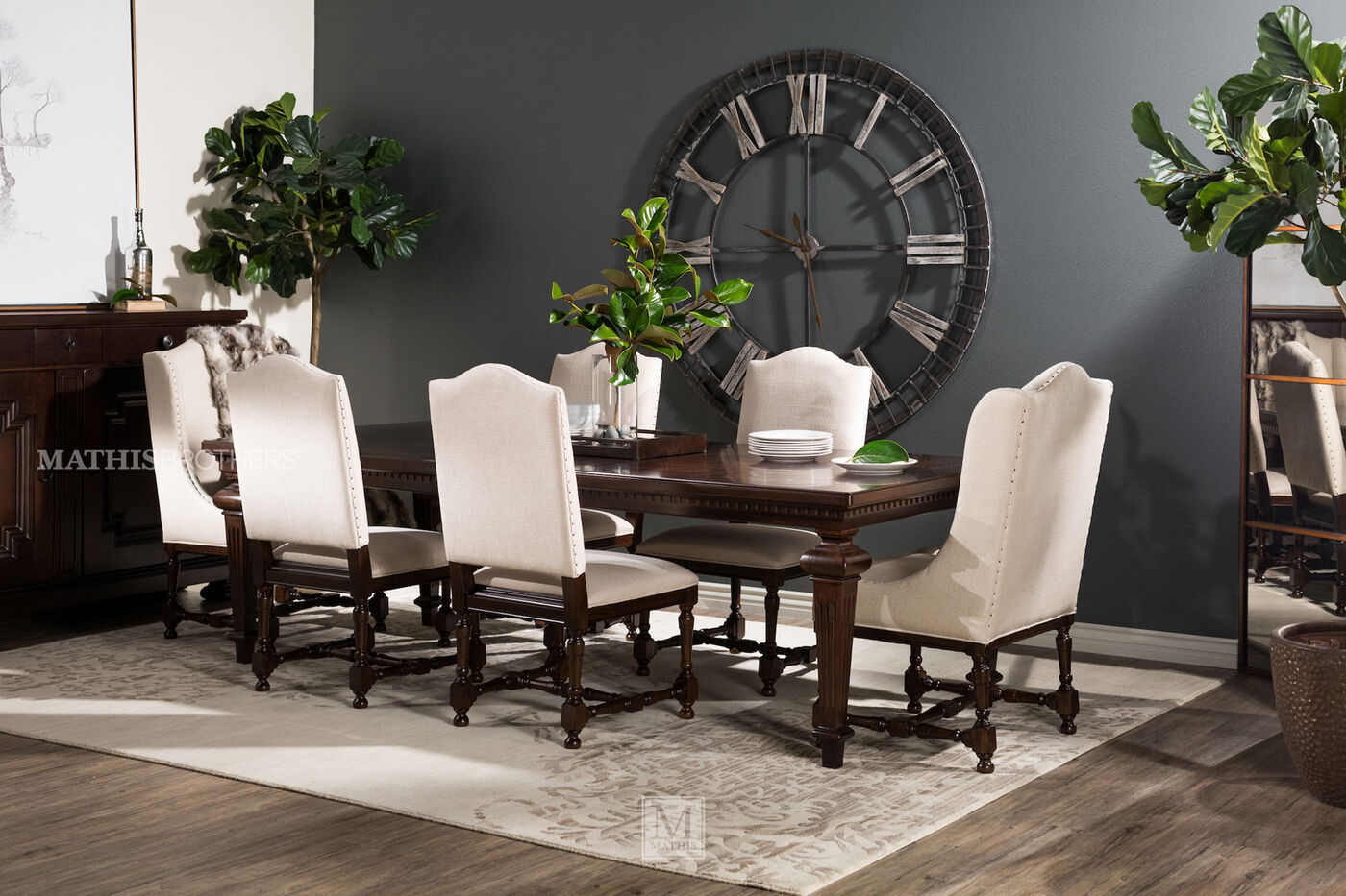 43 Dining Room Ideas And Designs: Two-Piece Turned Legs 43'' Side Chair Set In Dark Cream