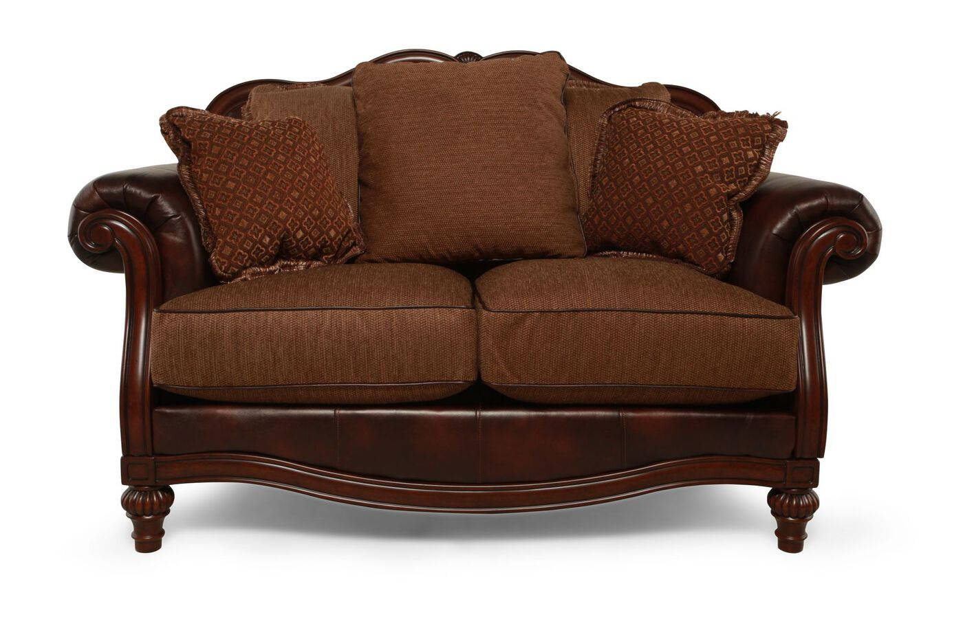 Traditional 68 Quot Loveseat In Brown Mathis Brothers Furniture
