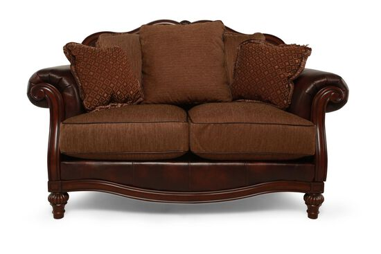 """Traditional 68"""" Loveseat in Brown"""