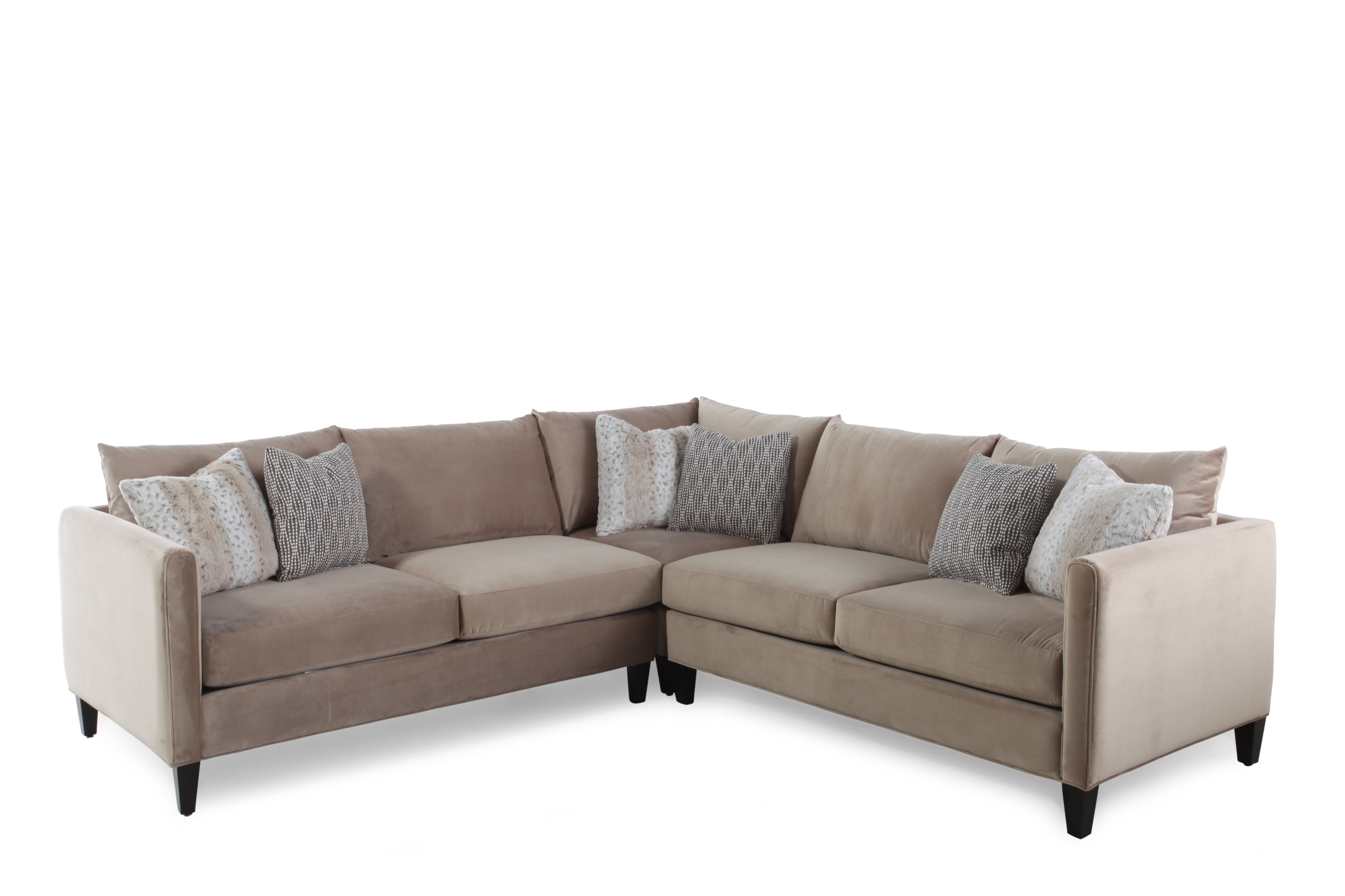 Wonderful Images Three Piece Traditional Low Profile Sectional In Milk Chocolate  Three Piece Traditional Low Profile Sectional In Milk Chocolate