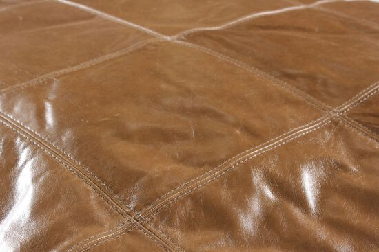 """Traditional 42"""" Leather Ottoman in Brown"""