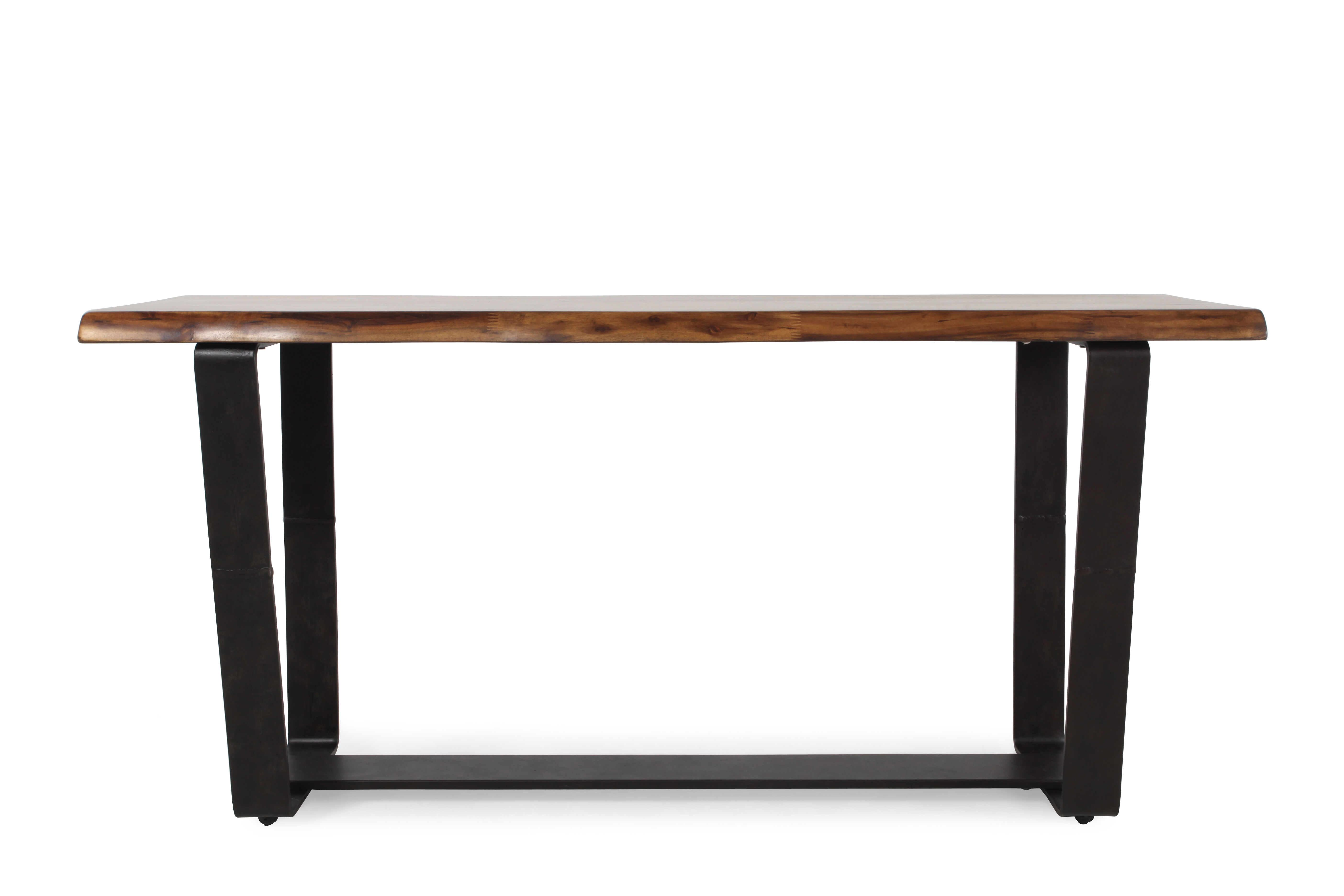 Double Pedestal Transitional Console Table In Brown