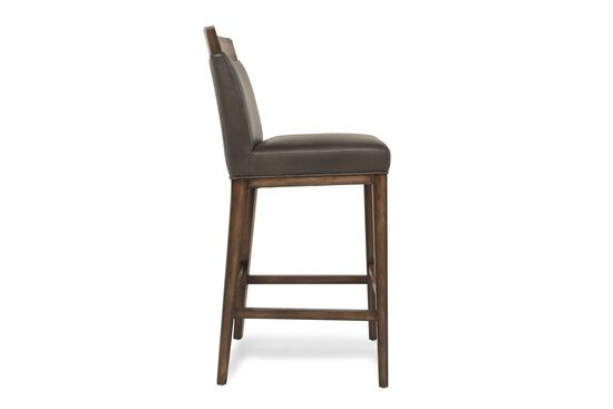 Leather Contemporary Bar Stool in Gray