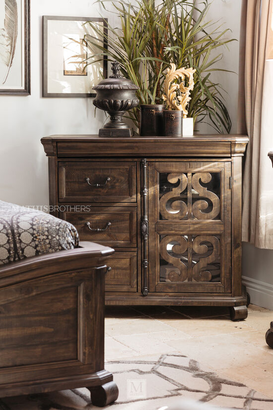 "42"" Contemporary Fretwork-Accented Media Chest in Brown"