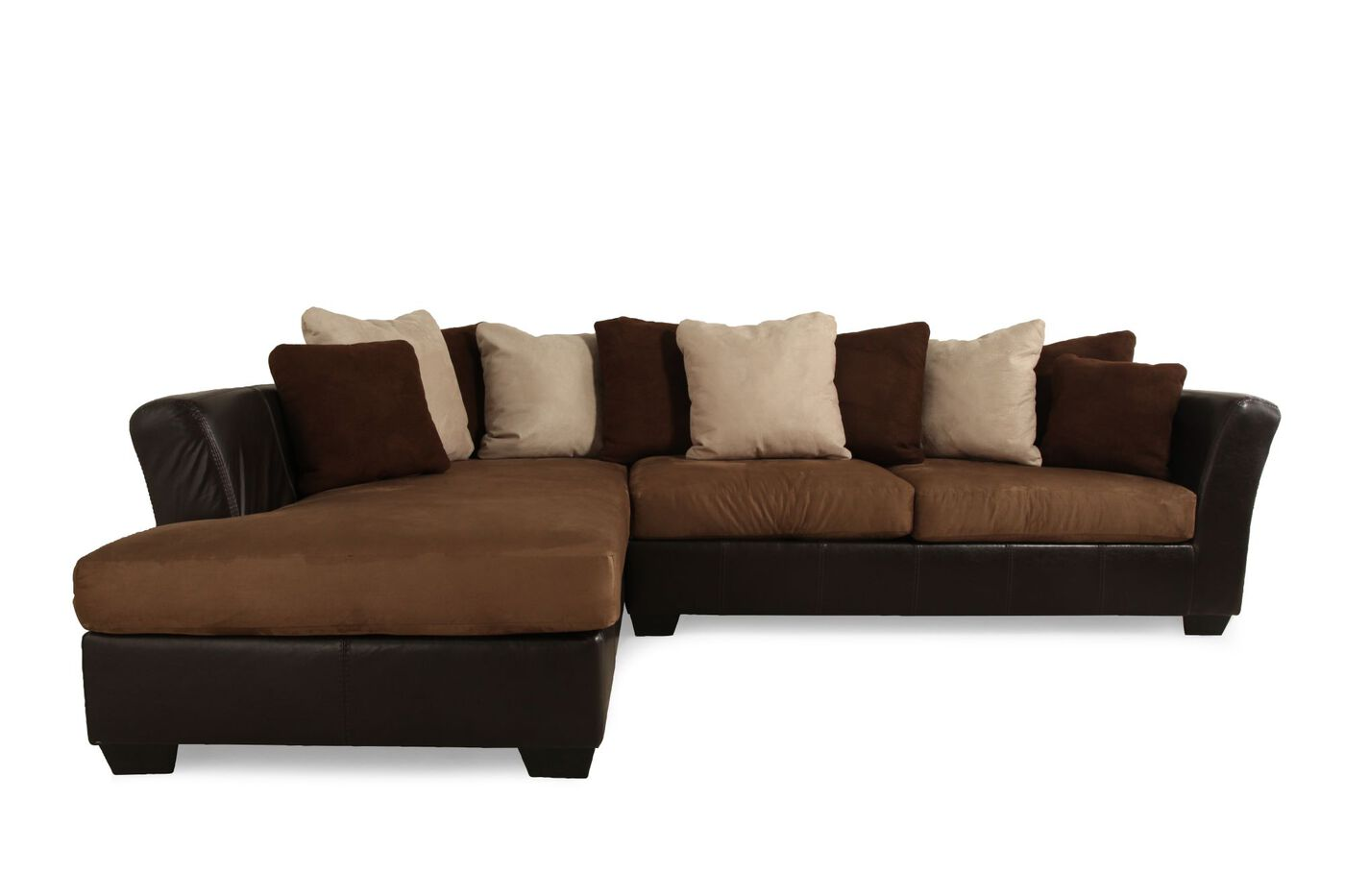 Microfiber 125 sectional in black mathis brothers furniture for Furniture couches sofas