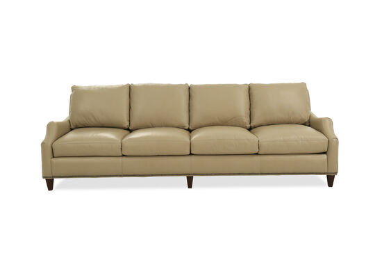 """Nailhead-Accented 103"""" Leather Sofa in Brown"""