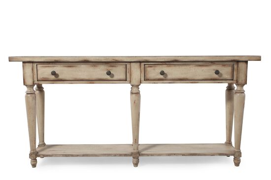 Two-Drawer Country Thin Console in Antique Ivory
