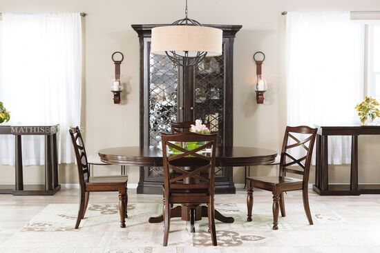 Five-Piece Traditional Round Extension 48'' to 72'' Dining Set in Burnished Brown