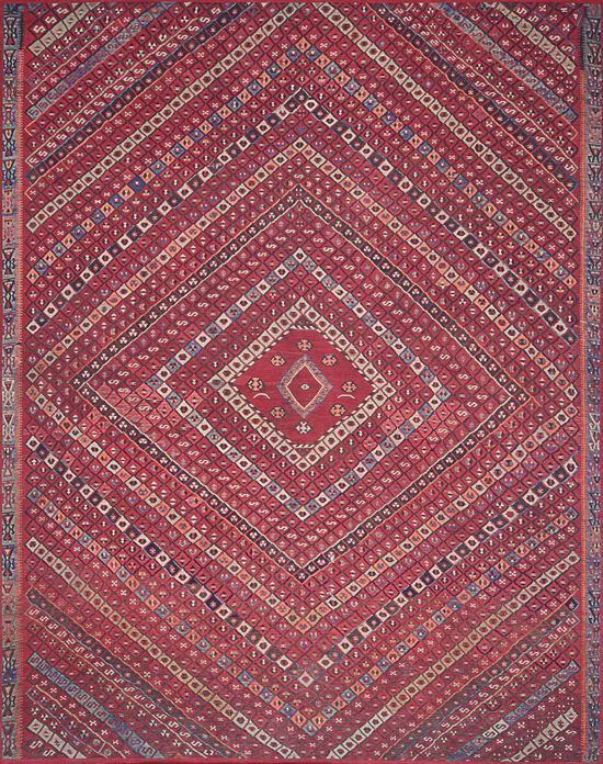 """Traditional 1'-6""""x1'-6"""" Square Rug in Red/Multi"""