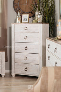 "53"" Five-Drawer Casual Chest in White Wash"