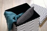 MB Home Fusionville Gray/White Chevron Upholstered Storage Ottoman