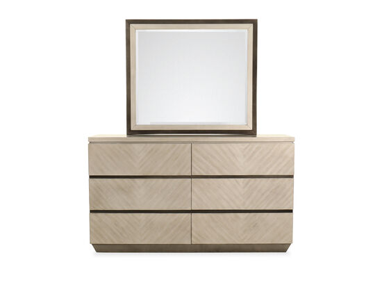 Two-Piece Casual Dresser and Mirror in Brown