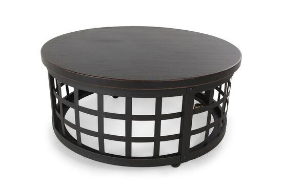 Basket-Framed Round Casual Cocktail Tablein Black