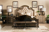 Hooker Hill Country Fair Oaks Brown King Upholstered Bed