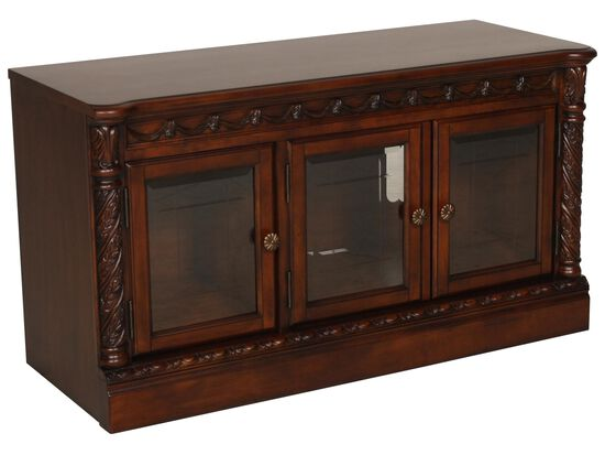Carved Pilaster Detailed Traditional TV Stand in Dark Brown