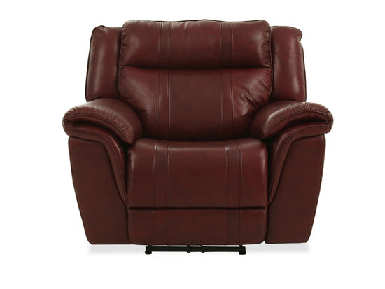 "Transitional Leather 45"" Power Recliner in Burgundy"