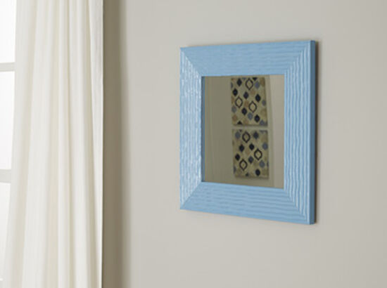 """16"""" Contemporary Wavy Line Patterned Accent Mirror in Aqua"""
