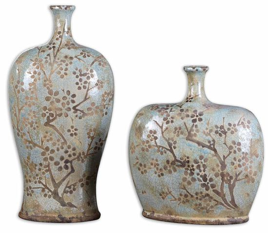 Two-Piece Floral Decorative Vases in Sea Foam Blue