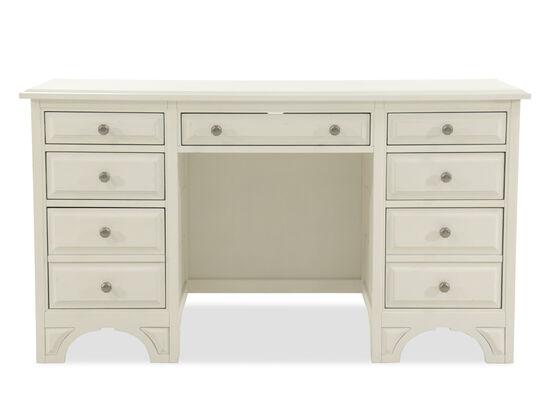 Seven-Drawer Traditional Deskin Vintage White