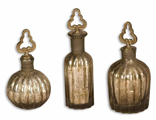 Three-Piece Glass Perfume Bottles in Antique Silver