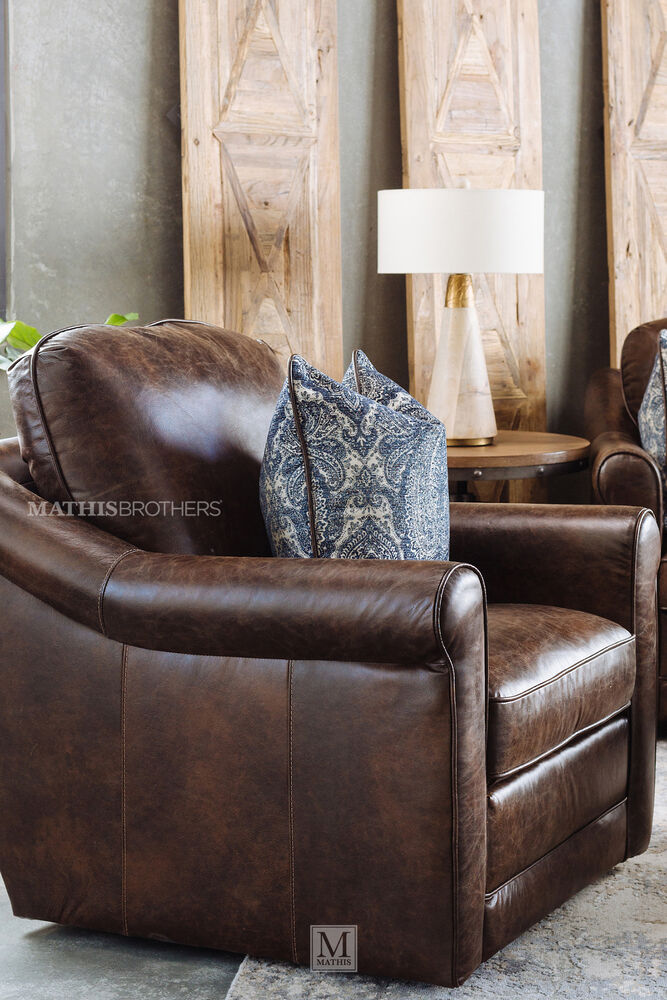 Casual Leather Swivel Chair In Brown Mathis Brothers