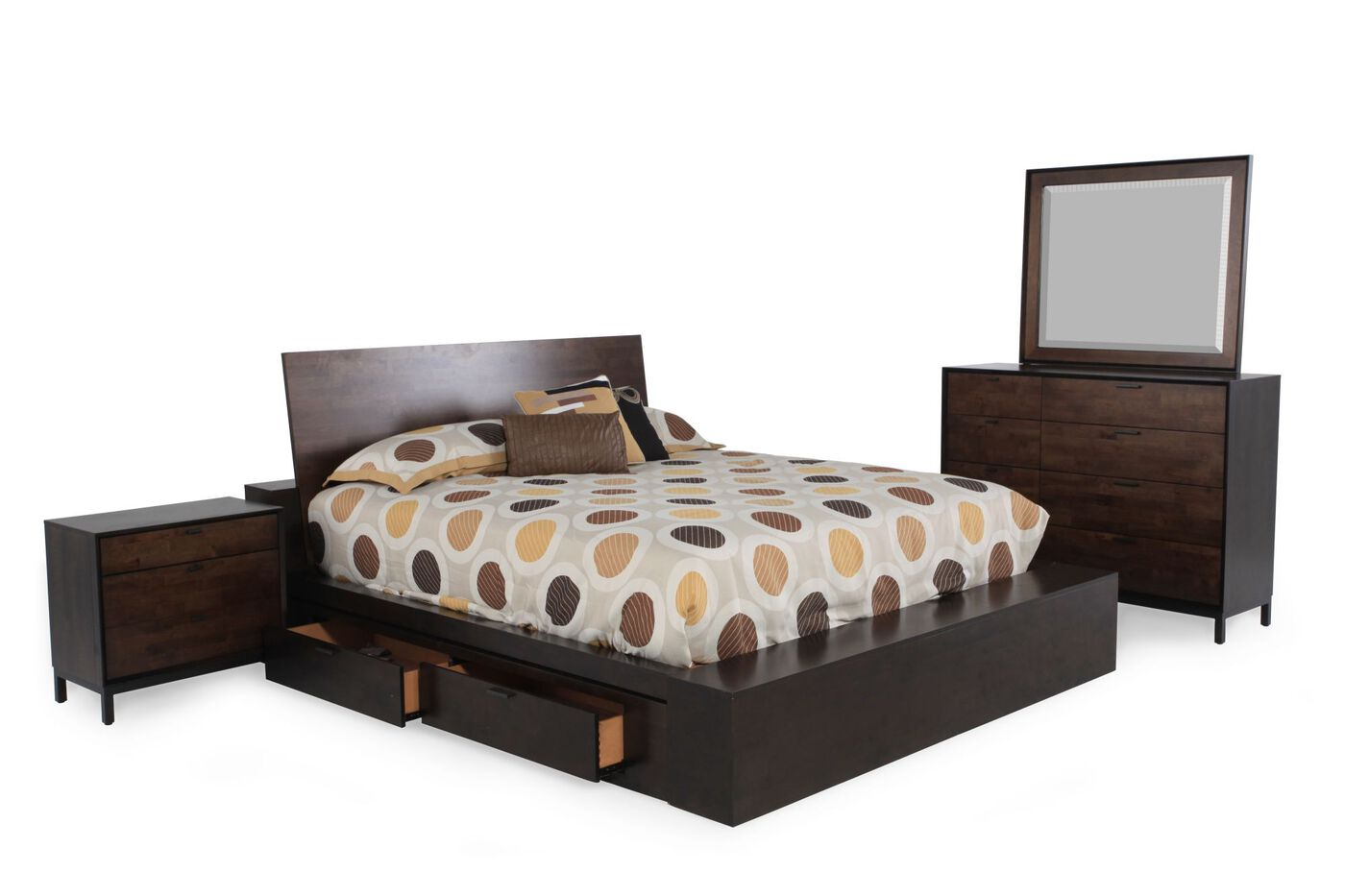 Four Piece Contemporary California King Storage Bedroom Set In Hazelwood Mathis Brothers Furniture